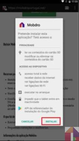 Étape 7: Cliquez sur Installer en bas à droite de l'écran et Mobdro sera installé sur votre appareil.